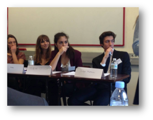 From left to right, Inès, Marie, Juliette and Mathieu representing the judges in the Texaco v. Pennzoil case